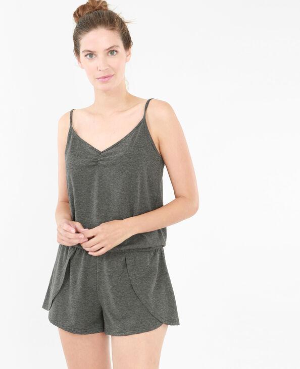Combishort homewear rayé noir