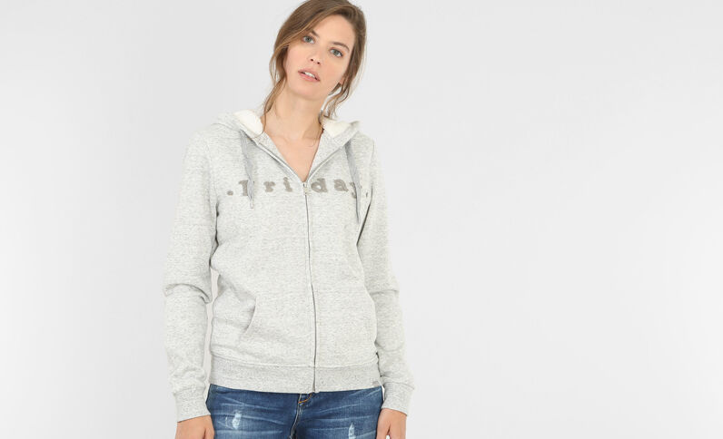 Gevoerde sweater met rits grijs