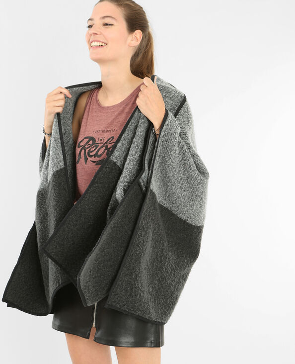 Poncho bicolore gris