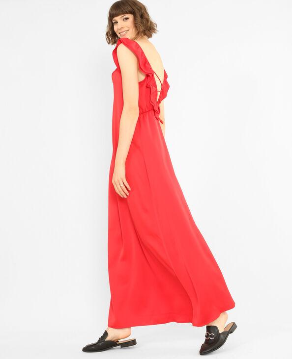 Lange satijnen jurk Rood