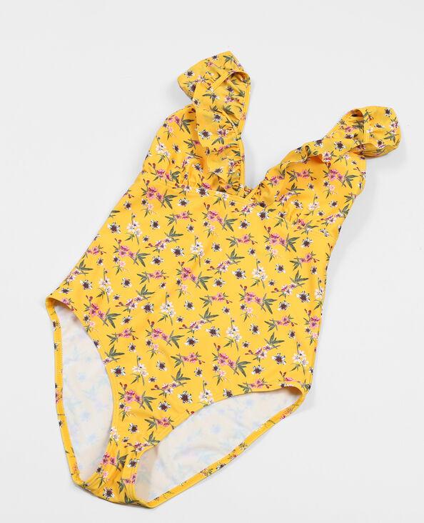 Costume da bagno intero con volant giallo