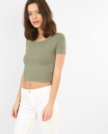 Camiseta crop acanalada verde