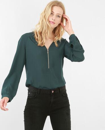 Blusa con cremallera verde abeto