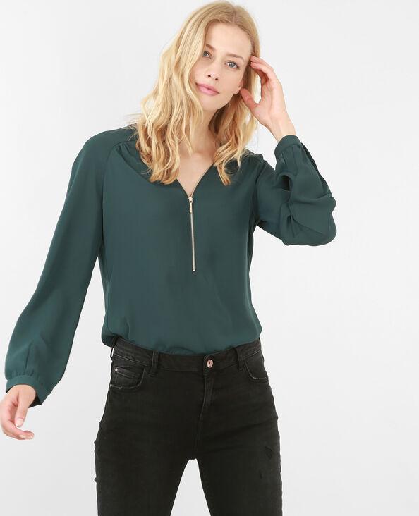 Blusa con zip verde abete