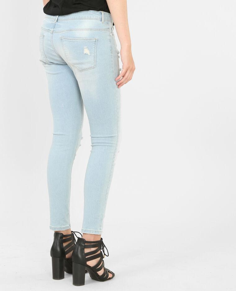 Skinny-Jeans mit zerschlissenen Knien Blau