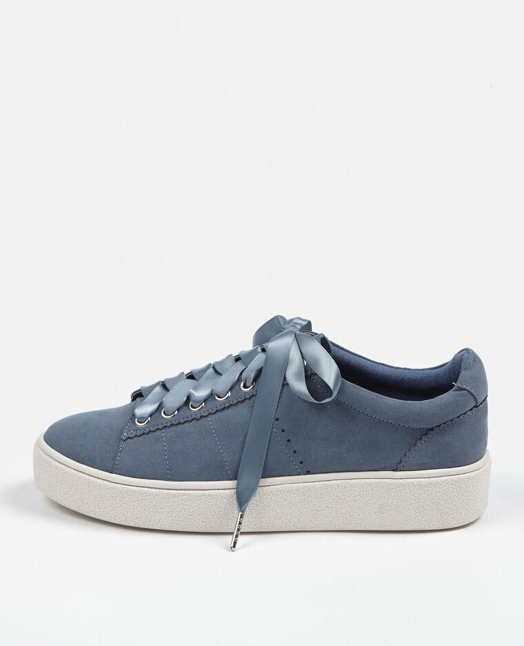 Zapatillas cordones satinados azul