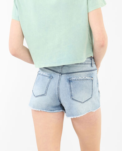 Short in jeans destroy ricamato blu denim