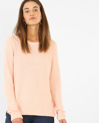 Pull maille fantaisie rose