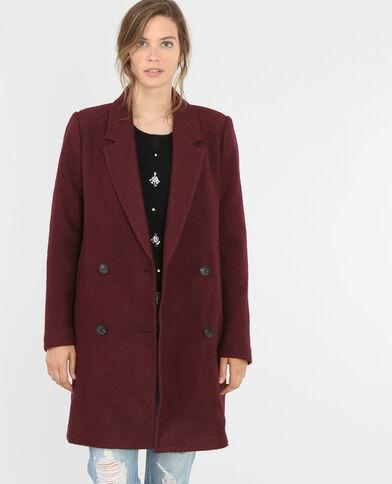 Manteau droit drap de laine grenat