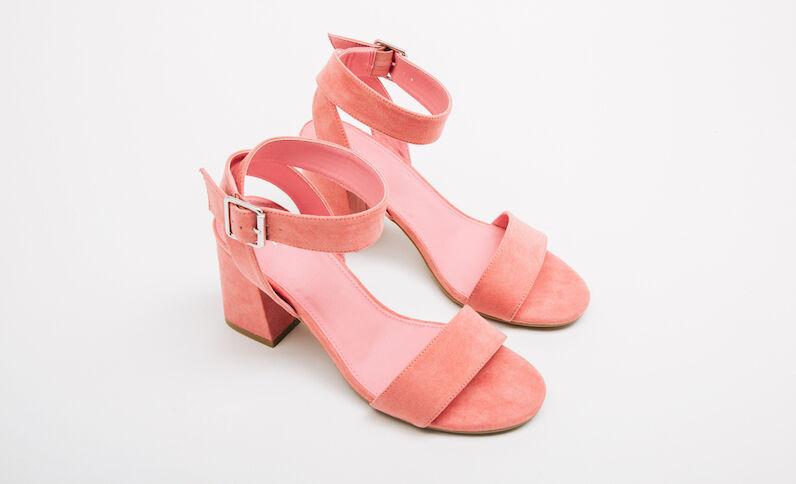 Sandali tacchi quadrati rosa pallido