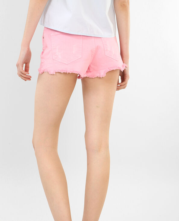 Jeansshort met destroyed look roze
