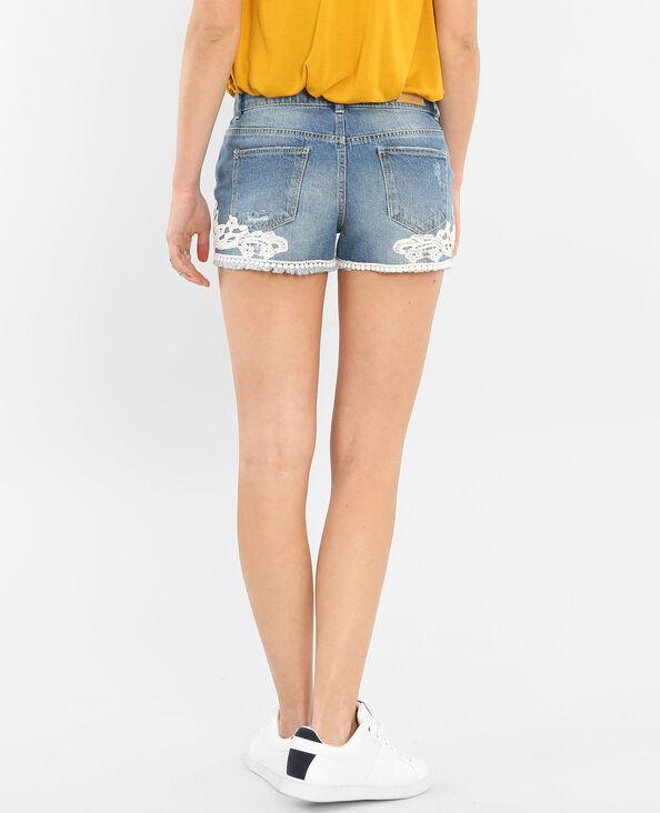 Mini short avec guipures bleu