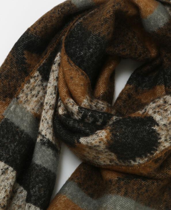Echarpe plaid imprimée brun