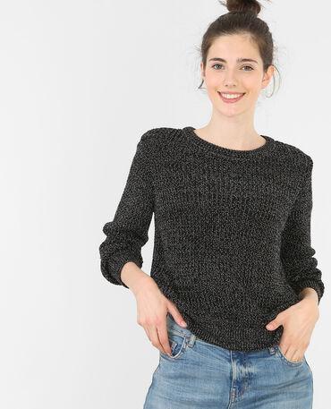 Jersey corto de punto torcido negro
