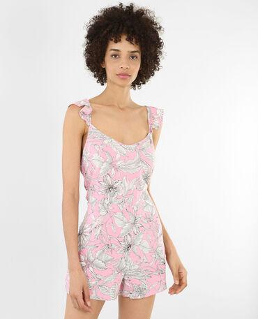 Combishort dos nu à volants rose