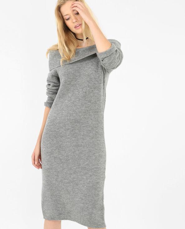 Robe pull col bardot gris