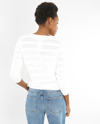 Pullover mit Ajour-Muster Naturweiß