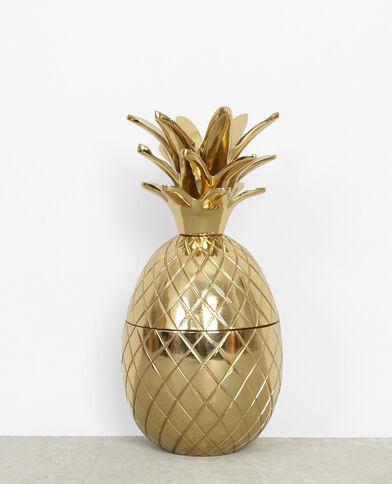 Große Schachtel mit Ananas und goldfarbenem Metall Gold