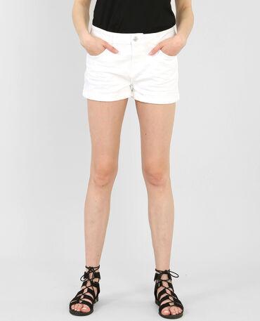 Shorts mit Umschlag, stone-washed Weiß
