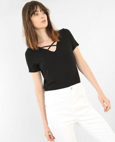 T-shirt col croisé noir