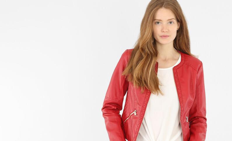 Veste faux cuir sans col rouge