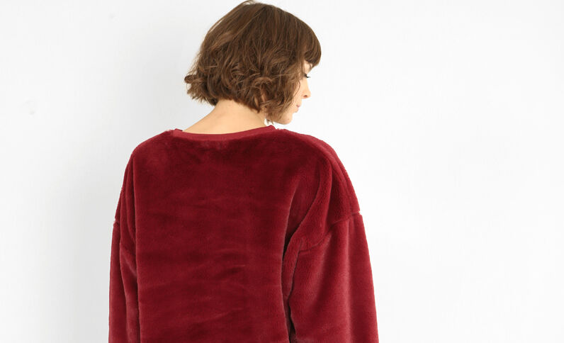 Sweatshirt aus Kunstfell Granatrot