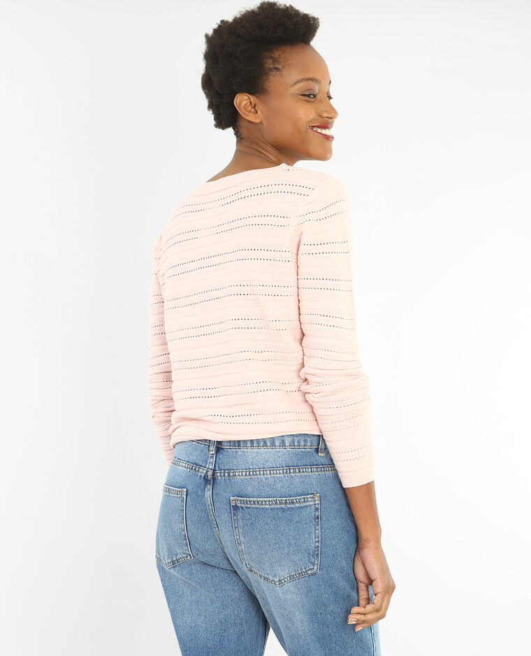 Pull maille ajourée rose