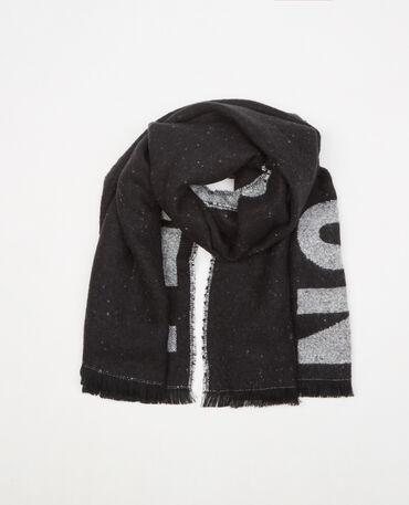 Bufanda manta con mensaje Negro