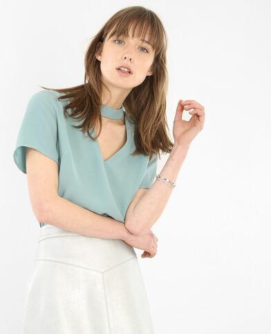 Bluse mit Choker-Kragen Grün