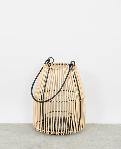 Photophore en bambou beige taupe