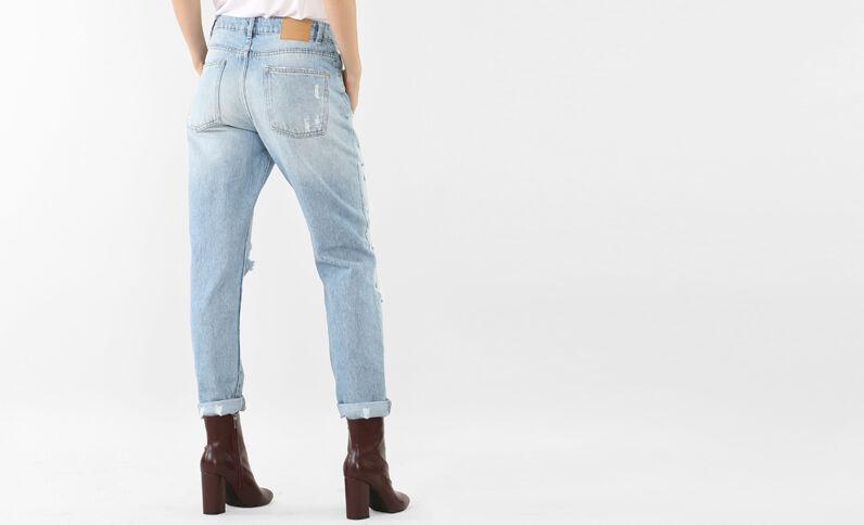 Mom-Jeans im Destroyed-Look Blau