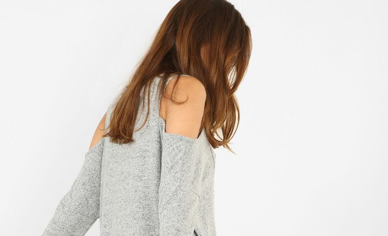 T-shirt à manches peekaboo gris chiné