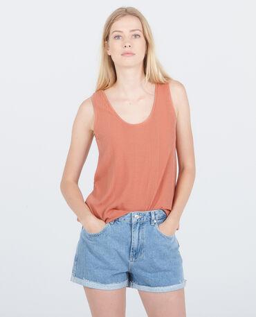 Geripptes Homewear-Top Rosa