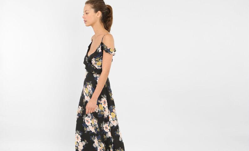 Lange jurk met peekaboomouwen zwart