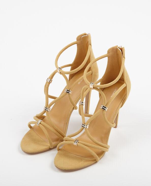 Sandalen met hak mosterdbruin