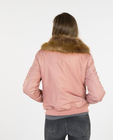 Bomber con cuello de pelo sintético rosa maquillaje