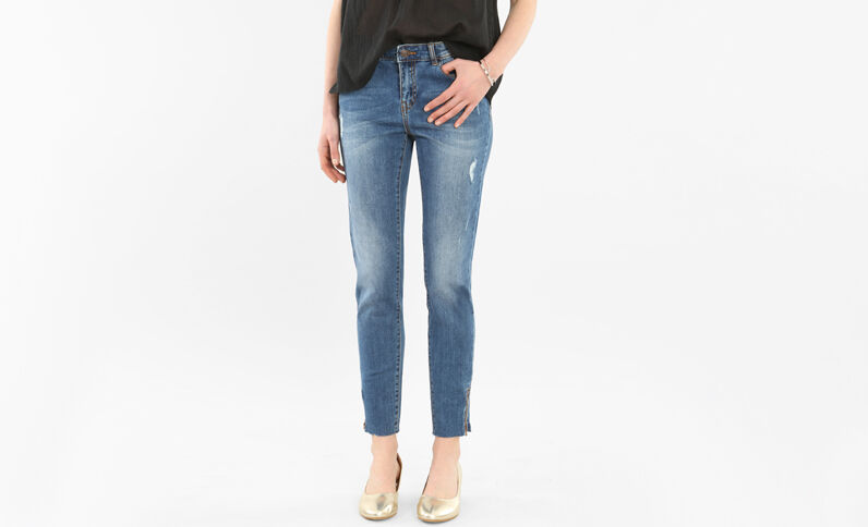Jean skinny raw cut zippé bleu denim
