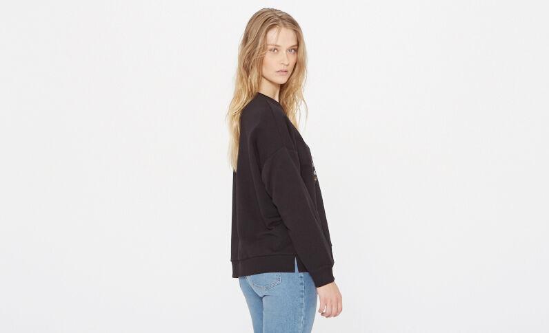 Bedruckter Sweater Schwarz
