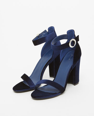 Pumps in Velours-Optik Blau
