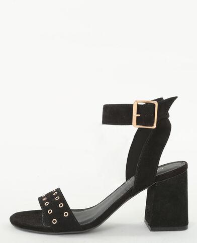 Sandalias con tacón cuadrado negro