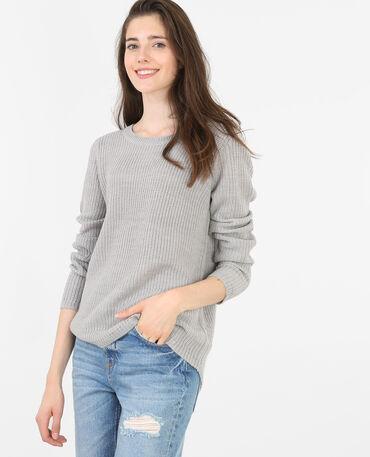 Pullover mit rundem Halsausschnitt Grau meliert