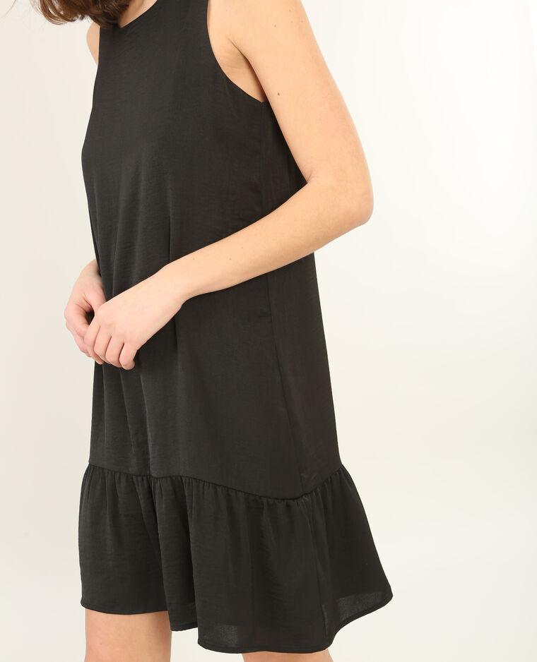Peplum-Kleid aus Satin Schwarz