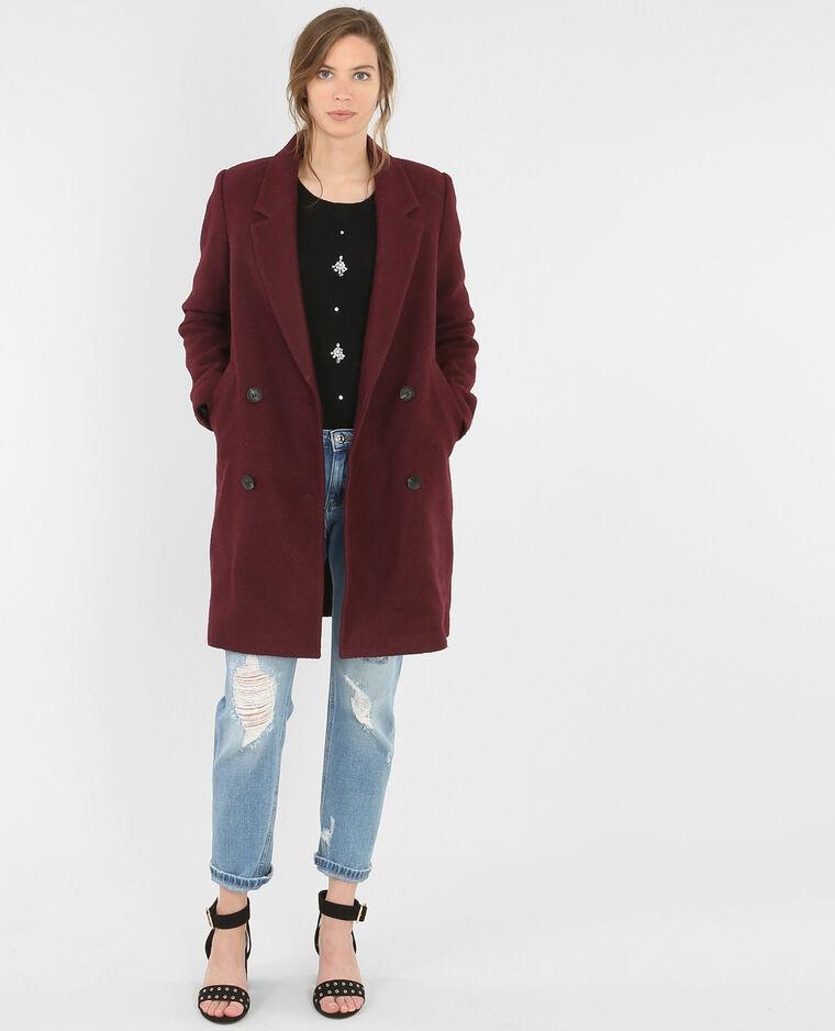 manteau droit drap de laine grenat 281065361i03 pimkie. Black Bedroom Furniture Sets. Home Design Ideas