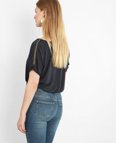 Weich fallendes T-Shirt Marineblau