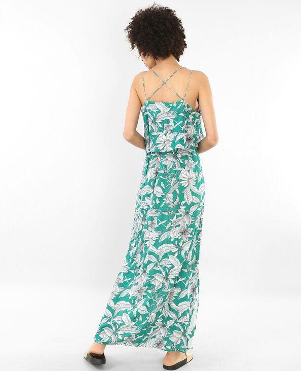 Lange jurk met print en gekruiste rug groen