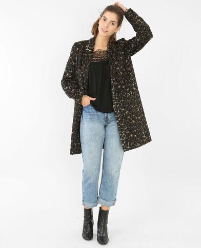 Manteau drap de laine léopard noir