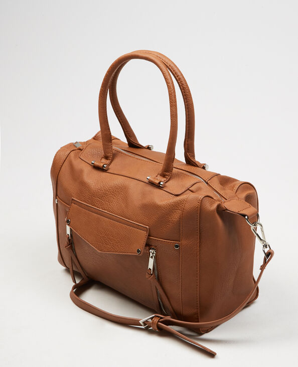 Borsa shopping con zip caramello