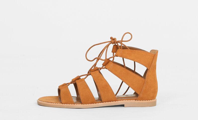 Sandali bassi in stile gladiatore marrone