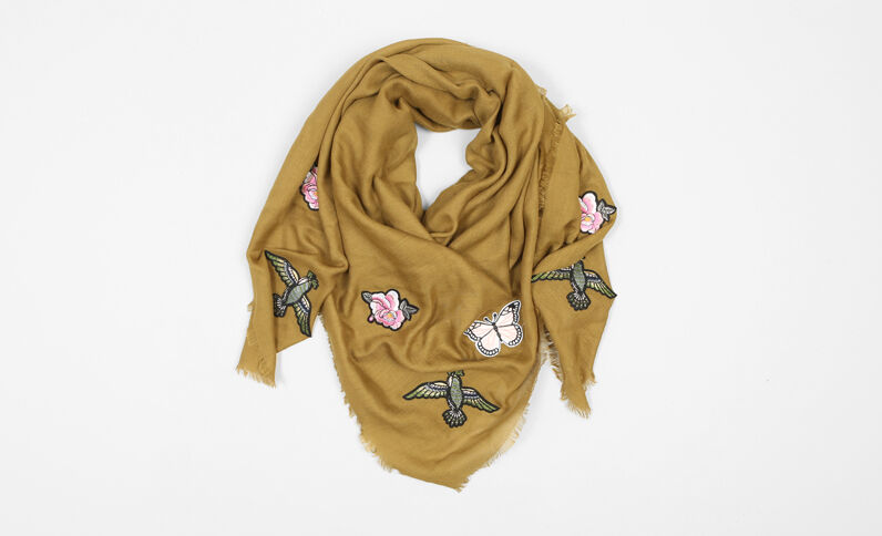 Foulard met patches kaki