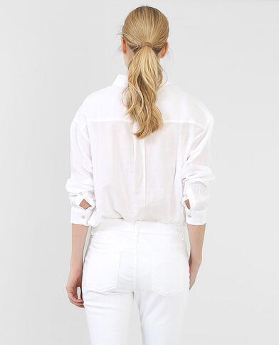 Camisa de algodón ancha blanco
